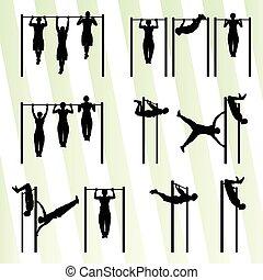 tirata, set, uomini, muscolare, vettore, fondo, idoneità, bodybuilding, ups