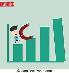 tirata, uso, eps10, affari, grafico, -, illustrazione, magnete, vettore, uomo