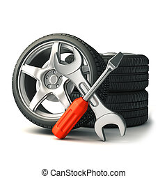 tire and tools - 3d render tools