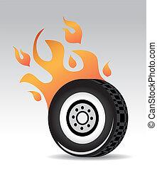 tire burning red orange flames, fast car