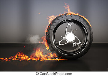 Tire burnout with flames smoke and debris,concept. 3d model...