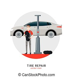tire car mechanic - Mechanic in a garage sign. Wheels and ...