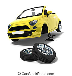 Tire changing - yellow car and tire changing on white ...