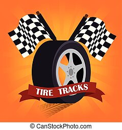Tire Design over orange background vector illustration