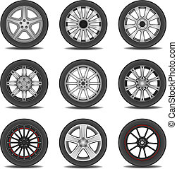 tire - Illustration set of different tires in vector.