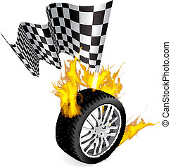 Tire Fire - Sports Race Emblems - Tire with checkered flag