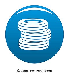 Tire fitting icon blue circle isolated on white background