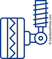 Tire fitting line icon concept. Tire fitting flat vector ...