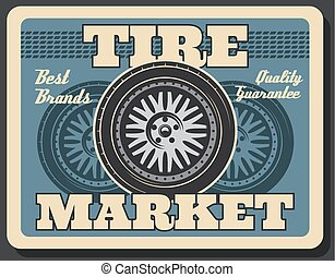 Tire fitting service, spare car wheel