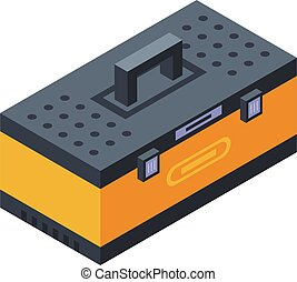 Tire fitting tool box icon, isometric style