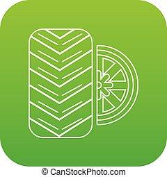 Tire icon green vector