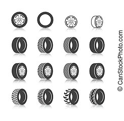 Tire icon set - Auto service shop wheels disks and tires...