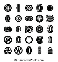 Tire icons set, simple style