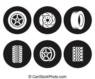 Tire icons set