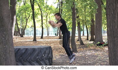 Tire Jumps Crossfit in park - Tire Jumps Crossfit