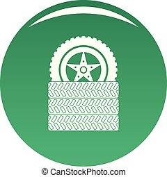 Tire leap icon vector green