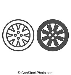 Tire line and glyph icon. Automobile wheel vector illustration isolated on white. Car part outline style design, designed for web and app. Eps 10.