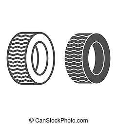 Tire line and glyph icon. Car wheel vector illustration isolated on white. Auto disk outline style design, designed for web and app. Eps 10.