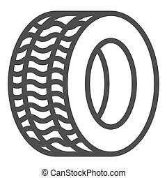 Tire line icon. Automobile wheel vector illustration isolated on white. Car tyre outline style design, designed for web and app. Eps 10.