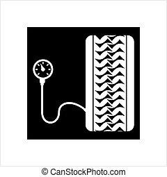 (tire), manomètre, pneu, icône