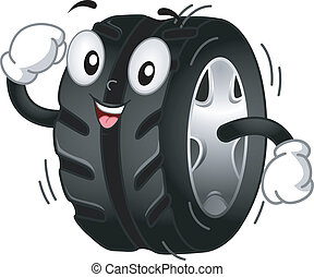 Tire Mascot - Mascot Illustration Featuring a Running/...