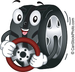 Mascot Illustration Featuring a Tire Holding a Steering Wheel