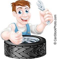 Tire Mechanic - Cartoon mechanic with car tire giving a...