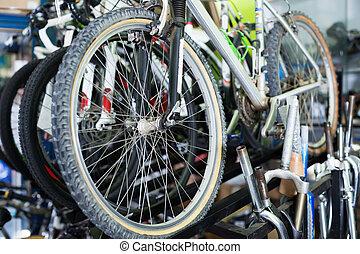 Tire on bike wheel selling in the sports shop