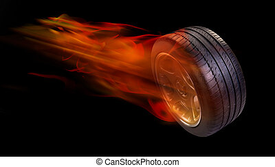 Tire on fire. - Car tire on fire.