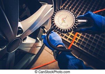 Tire Pressure Car Service Check