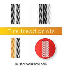Tire print icon. Detailed automobile, motorcycle tyre marks. Symmetric car wheel trace with thick grooves. Vehicle tire trail. Linear black and RGB color styles. Isolated vector illustrations