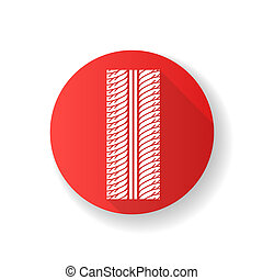 Tire print red flat design long shadow glyph icon. Detailed automobile, motorcycle tyre marks. Symmetric car wheel trace with thick grooves. Vehicle tire trail. Silhouette RGB color illustration