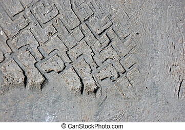 Tire print in asfalt