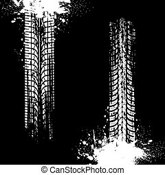 Tire prints, car tyre tracks isolated vector marks