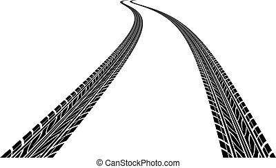 tire prints, vector illustration