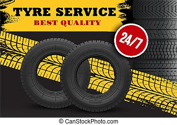 Tire repair and replacement service vector banner