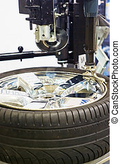 tire repair - wheel repair in auto service station