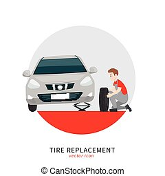 Tire replacement icon - Mechanic in a garage sign. Wheels ...