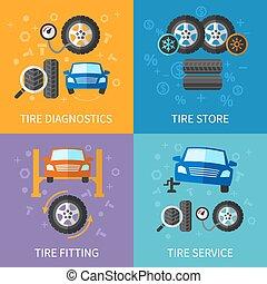 Tire service flat concepts vector set. Diagnostics and ...