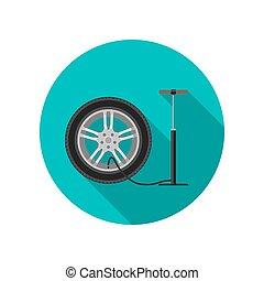 Tire service flat icon
