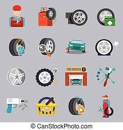 Tire service icon flat