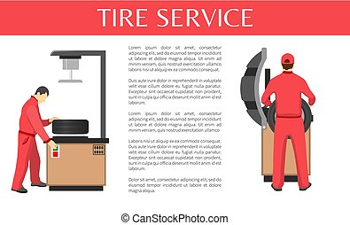 Tire Service Isolated on White Colorful Poster