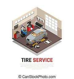 Tire Service Isometric Composition