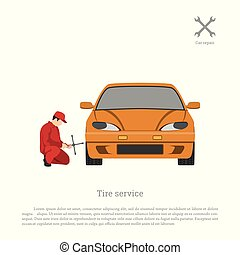 Tire service. Mechanic changing a car wheel. Repair and maintenance. Vehicle workshop.