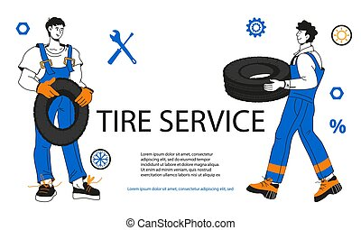 Tire service or car repair garage banner or flyer cartoon ...