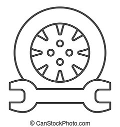Tire service thin line icon. Tire fitting vector illustration isolated on white. Auto wheel and wrench outline style design, designed for web and app. Eps 10.
