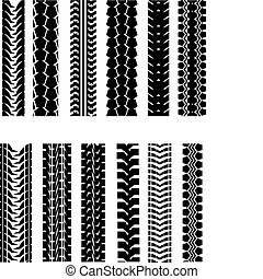 Tire shapes - Set of tire shapes isolated on white for...