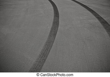 Tire Skid Marks from dangerous driving accident