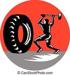 Tire Sledgehammer Workout Woodcut - Illustration of an...