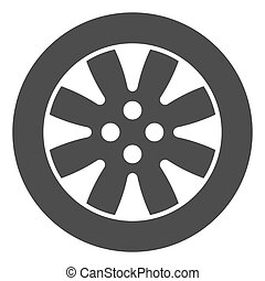Tire solid icon. Automobile wheel vector illustration isolated on white. Car part glyph style design, designed for web and app. Eps 10.